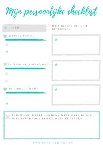 Gratis printable, persoonlijke checklist.